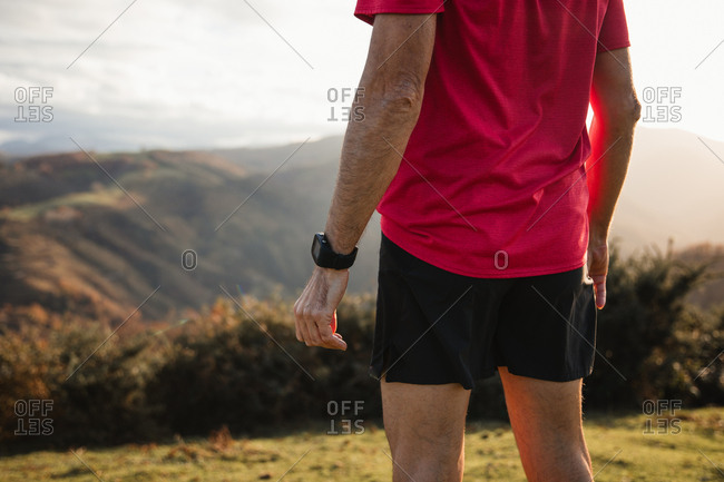 Back view of anonymous sportive man in blue and red shirts standing on top of green hill and enjoying landscape while relaxing after running in mountains in sunny day