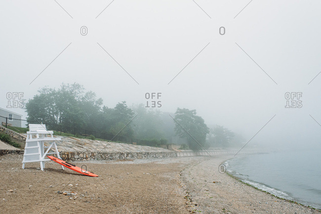 A foggy, misty day on a beach in Connecticut