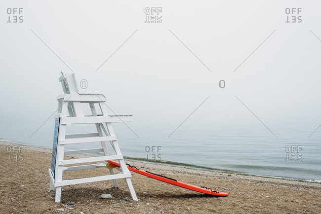 Lifeguard post on a foggy, misty day on a beach in Connecticut