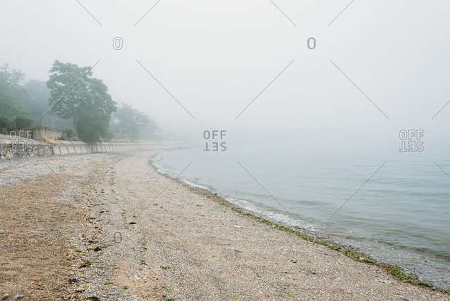 A foggy day on a beach in Connecticut