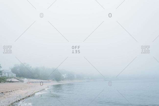 A misty day on a beach in Connecticut