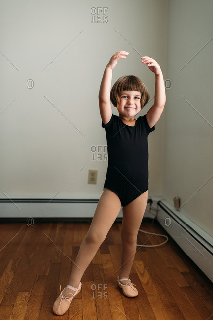 Happy preschooler in ballet clothing