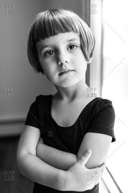Black and white portrait of a preschool ballerina