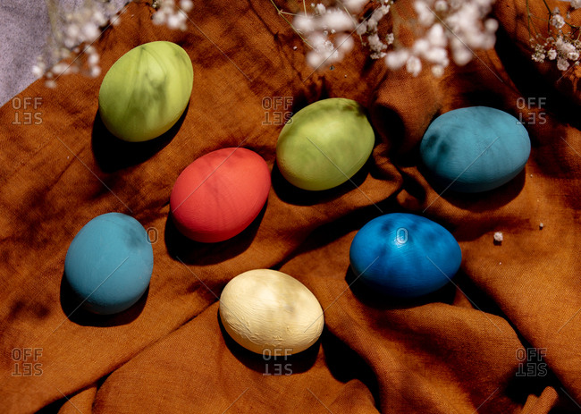 Colored Easter eggs on cloth