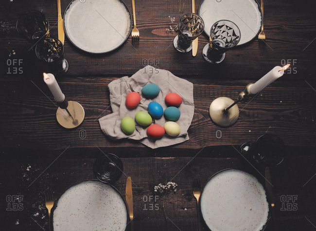 Easter eggs on a holiday table, from above