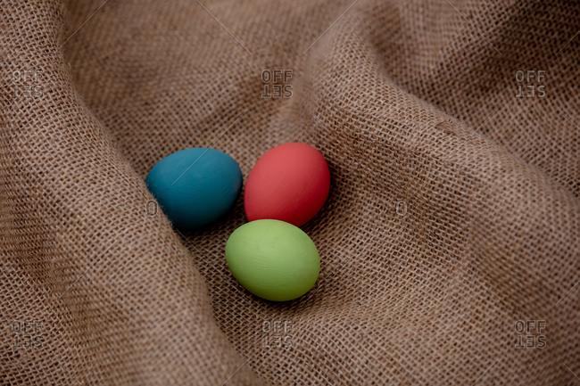 Easter eggs on jute cloth