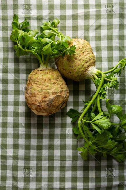 Fresh celery roots overhead