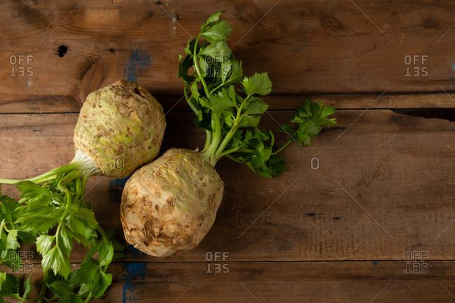 Fresh celery on wooden background