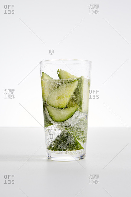 Cucumber ice water in a glass