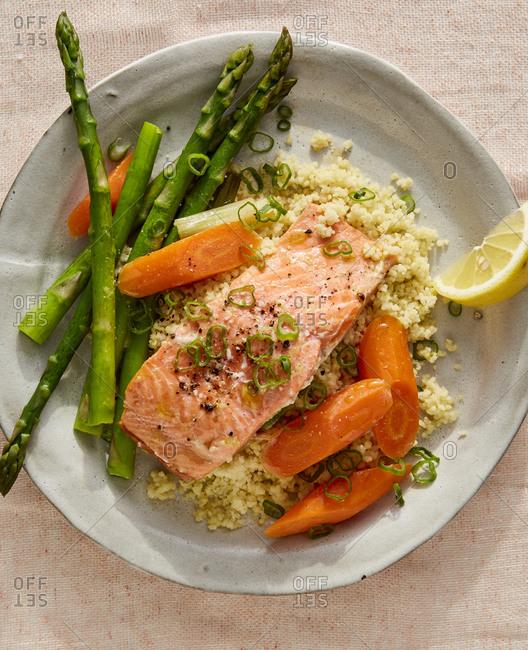 Miso salmon couscous dish