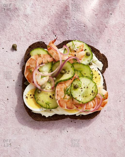 Overhead view of a Scandinavian shrimp cucumber sandwich