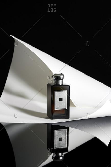Still life of a women's trendy perfume bottle