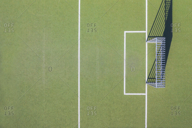 Drone shot of soccer field