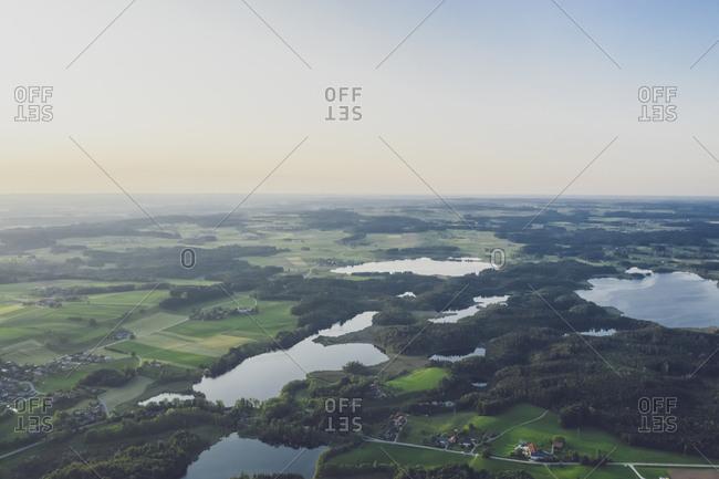 Germany- Bavaria- Rosenheim- Aerial view of Eggstatt-Hemhofer lakeland