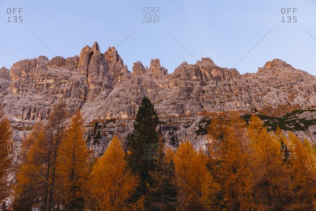 Autumn mountain landscape at the morning light- Dolomites- Cortina- Italy