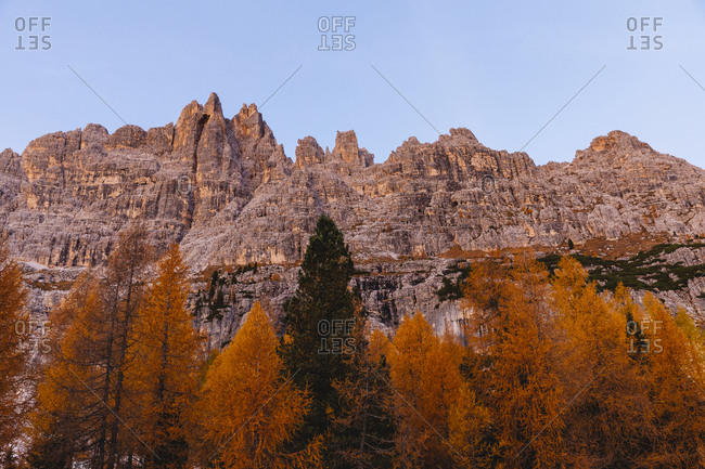 Autumn mountain landscape at the morning light- Dolomites- Cortina- Italy
