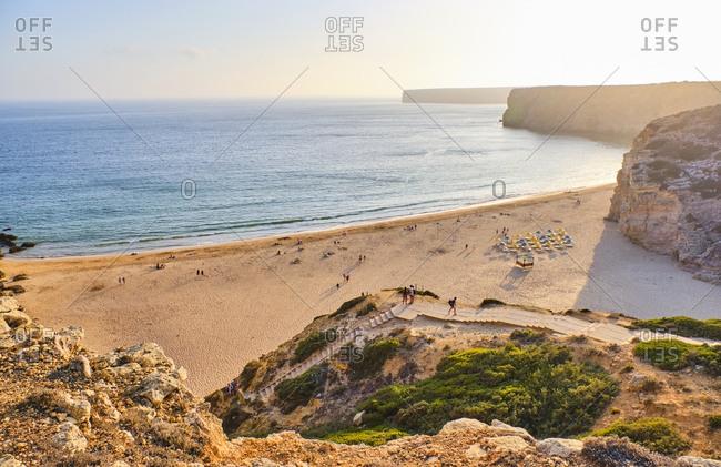 Portugal- Algarve- Sagres- Beliche sandy beach at sunrise