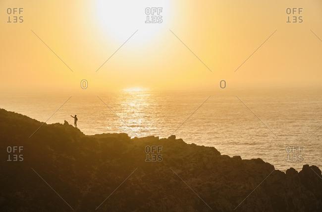 Portugal- Algarve- Cabo de Sao Vincente- silhouette of southwestern most point of Europe