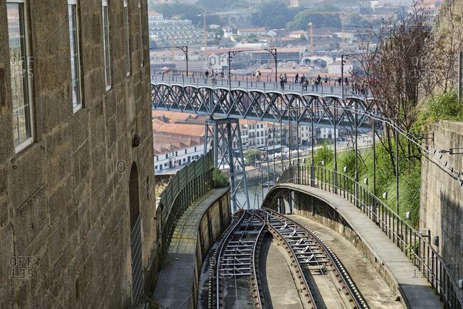 Portugal- Porto- Douro- Dom Luis I bridge seen from railroad