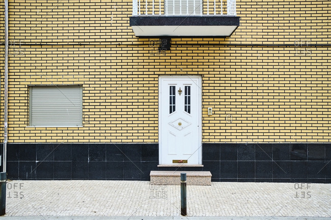 Portugal- Porto- Afurada- Unique house facade seen from sidewalk