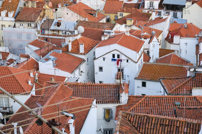 Portugal- Lisbon- Alfama- high angle view of rooftops