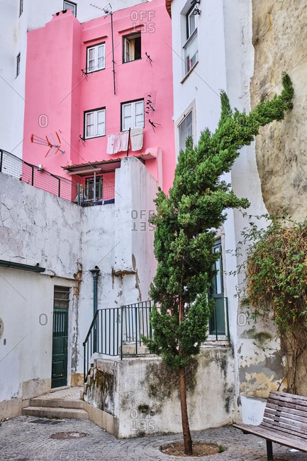 Portugal- Lisbon- Alfama- outside of residential building