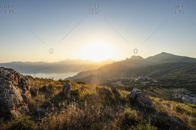View from Belvedere de Saliccio at sunrise- Piana- Corse-du-Sud- Corsica- France