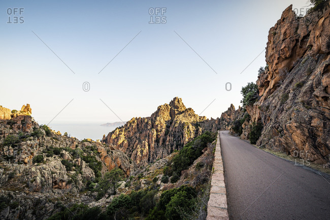 Empty road- Calanchi di Piana- Calanche- Corse-du-Sud- Corsica- France