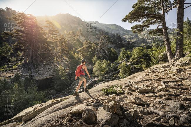 Female hiker during hike- Albertacce- Haute-Corse- Corsica- France