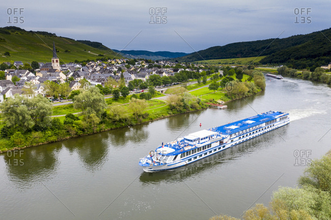 Aerial view of cruise ship on Mosel River- Bernkastel-kues- Germany