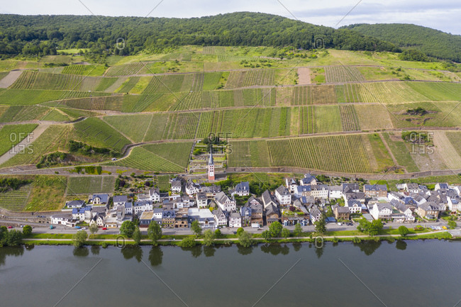 Drone shot of Zell town by Mosel River against sky- Germany