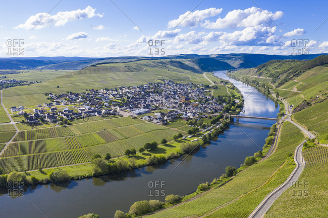 Drone shot of Mosel River amidst land- Trittenheim- Germany
