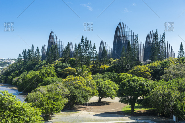 View of Jean-Marie Tjibaou Cultural Centre against blue sky at sunny day- Noumea- New Caledonia