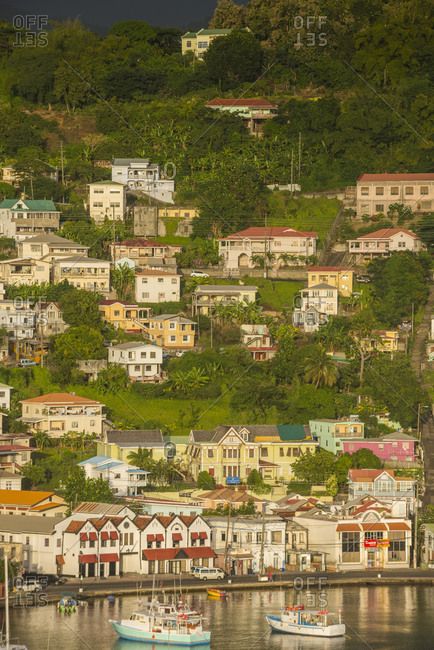 High angle view of St. George's town by sea- Grenada- Caribbean
