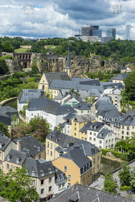 High angle view of residential buildings at old town in Luxembourg