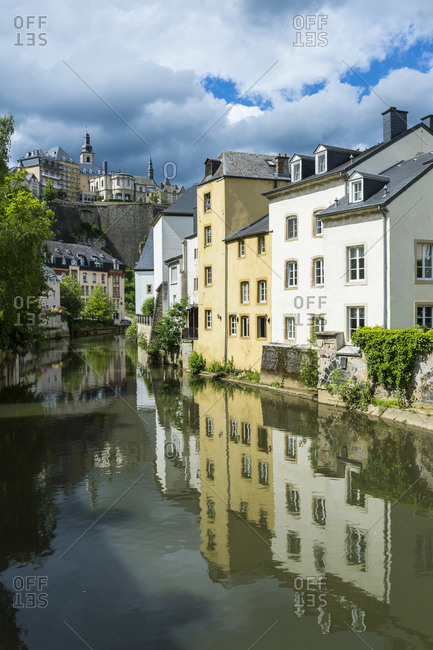 Buildings in waterfront at the old quarter of Luxembourg- Luxembourg