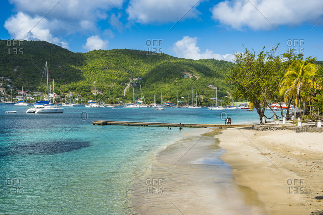Scenic view of town beach at Port Elizabeth- Admiralty Bay- Bequia- St. Vincent and the Grenadines- Caribbean