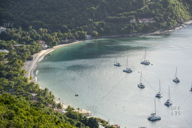 High angle view of boats on Cane Garden Bay- Tortola- British Virgin Islands