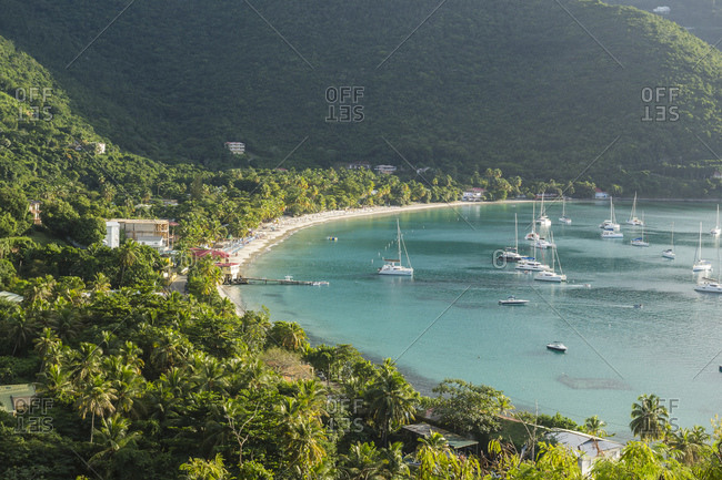 High angle view of boats on Cane Garden Bay- British Virgin Islands