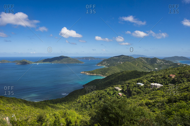 Tranquil view of Caribbean sea against blue sky- British Virgin Islands