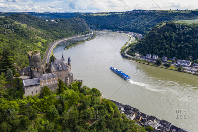 Aerial view of Katz Castle on mountain by Rhine River- Germany