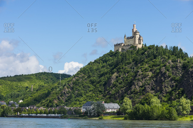 Low angle view of Marksburg castle on mountain against blue sky- Middle Rhine- Germany
