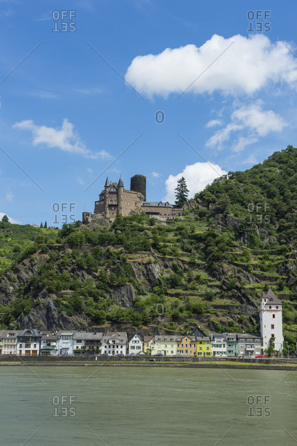 Low angle view of Katz Castle on mountain by Rhine River- Middle Rhine- Germany