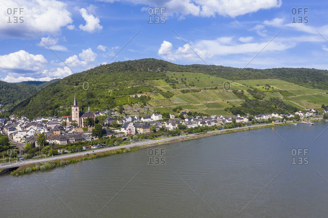 Aerial view of mountain by Rhine River against sky in Lorch- Germany