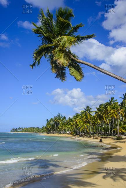 Scenic view of Casablanca beach against blue sky- Las Terrenas- Dominican Republic