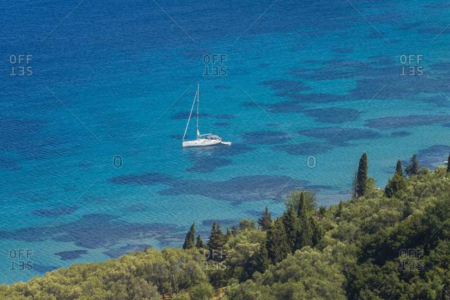 High angle view of boat on sea at Corfu- Ionian islands- Greece