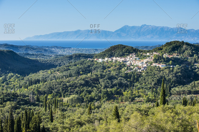 High angle view of mountain village against cleat sky during sunny day- Corfu- Ionian islands- Greece