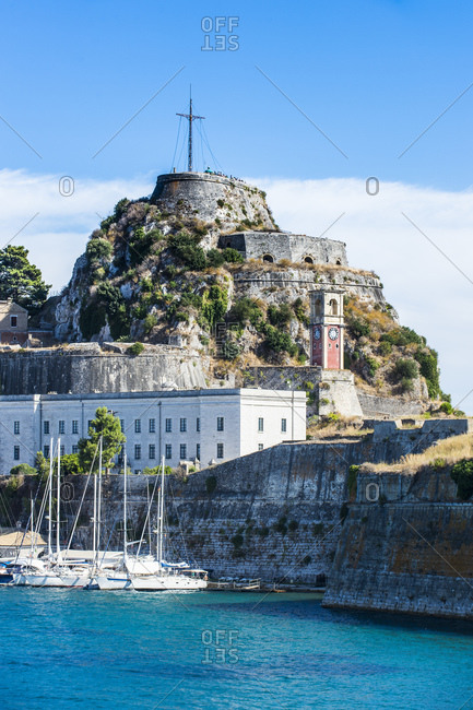 Low angle view of old fort in Corfu town- Ionian islands- Greece