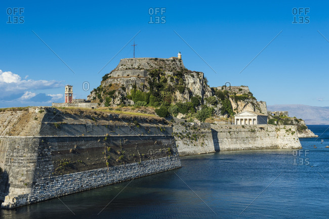 Old fort against blue sky in Corfu town- Ionian islands- Greece