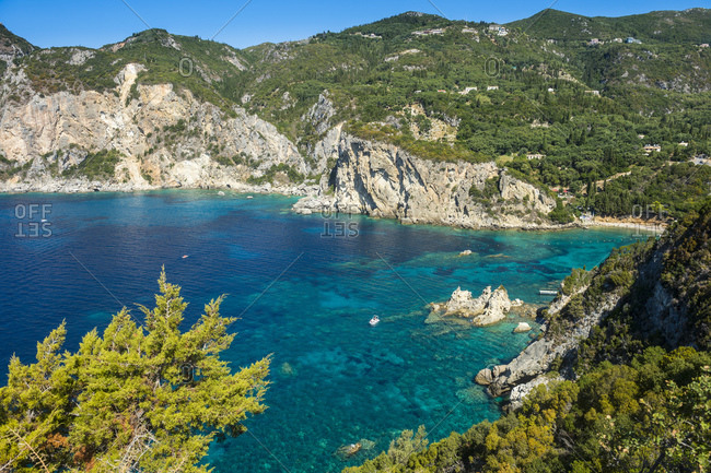 Tranquil view of sea and mountains during sunny day in Paleokastritsa- Corfu- Ionian Islands